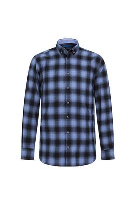 Erkek Giyim - AÇIK MAVİ L Beden Uzun Kol Regular Fit Ekose Oduncu Gömlek