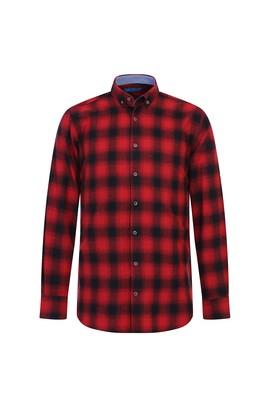 Erkek Giyim - AÇIK KIRMIZI 3X Beden Uzun Kol Ekose Oduncu Gömlek