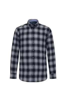 Erkek Giyim - ORTA FÜME L Beden Uzun Kol Ekose Oduncu Gömlek