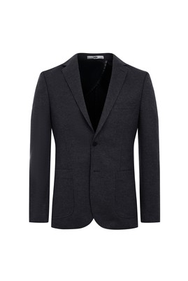 Erkek Giyim - SİYAH 52 Beden Regular Fit Örme Ceket