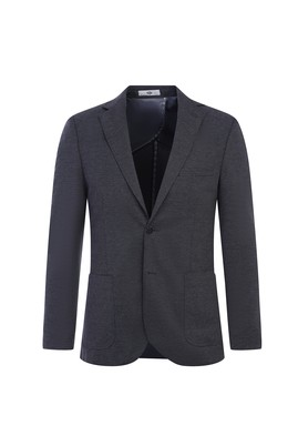 Erkek Giyim - ORTA FÜME 54 Beden Regular Fit Örme Ceket