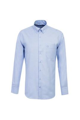 Erkek Giyim - AÇIK MAVİ L Beden Uzun Kol Regular Fit Desenli Oxford Gömlek