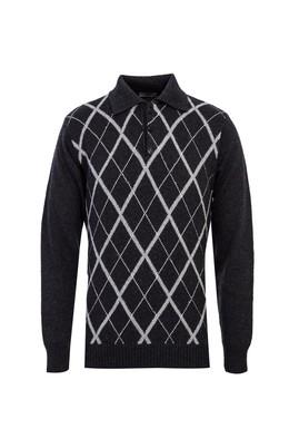 Erkek Giyim - ORTA ANTRASİT XL Beden Polo Yaka Yünlü Desenli Regular Fit Triko Kazak