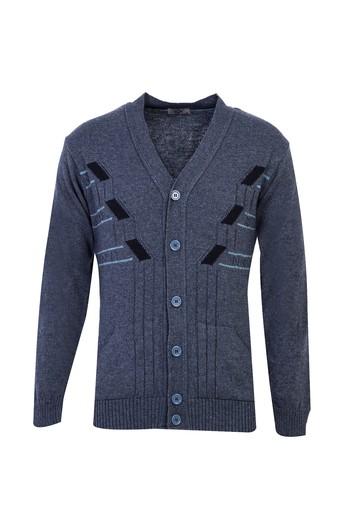 Erkek Giyim - Desenli Düğmeli Yünlü Triko Hırka