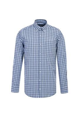 Erkek Giyim - AÇIK MAVİ L Beden Uzun Kol Klasik Ekose Gömlek