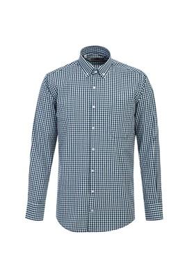 Erkek Giyim - MİNT YEŞİLİ L Beden Uzun Kol Klasik Ekose Gömlek