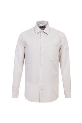 Erkek Giyim - AÇIK KAHVE XL Beden Uzun Kol Desenli Klasik Gömlek