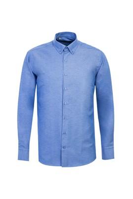 Erkek Giyim - GÖK MAVİSİ L Beden Uzun Kol Spor Desenli Gömlek