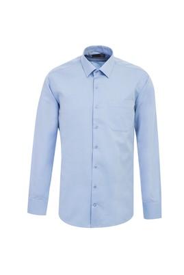 Erkek Giyim - GÖK MAVİSİ L Beden Uzun Kol Desenli Klasik Gömlek