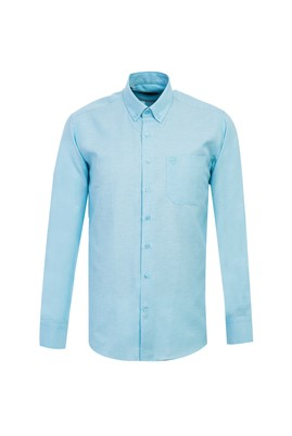 Erkek Giyim - AQUA MAVİSİ L Beden Uzun Kol Oxford Gömlek