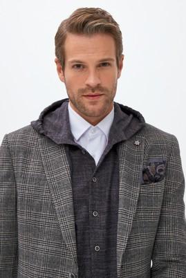 Erkek Giyim - AÇIK GRİ 50 Beden Klasik Yünlü Ekose Ceket