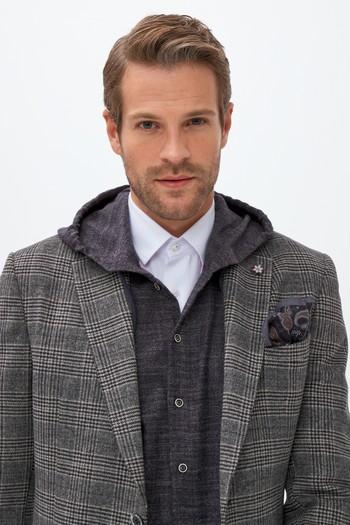 Erkek Giyim - Klasik Yünlü Ekose Ceket