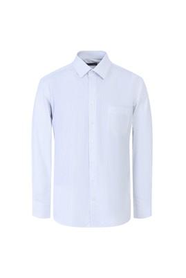 Erkek Giyim - GÖK MAVİSİ 3X Beden Uzun Kol Çizgili Klasik Gömlek