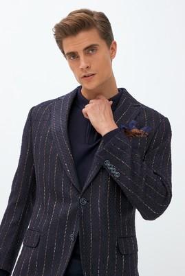 Erkek Giyim - AÇIK MAVİ 48 Beden Klasik Çizgili Desenli Ceket
