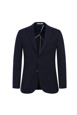 Erkek Giyim - KOYU LACİVERT 56 Beden Regular Fit Kuşgözü Ceket