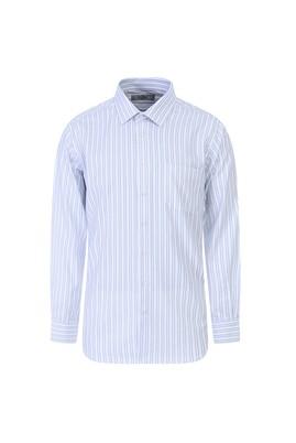 Erkek Giyim - AÇIK LACİVERT M Beden Uzun Kol Regular Fit Çizgili Gömlek