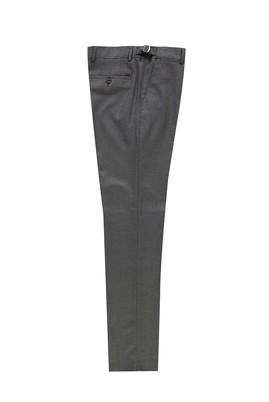 Erkek Giyim - AÇIK FÜME 56 Beden Slim Fit Klasik Tokalı Pileli Yünlü Pantolon