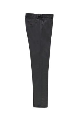 Erkek Giyim - ORTA FÜME 54 Beden Slim Fit Klasik Tokalı Pileli Yünlü Pantolon
