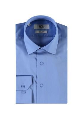 Erkek Giyim - AQUA MAVİSİ S Beden Uzun Kol Slim Fit Non Iron Gömlek