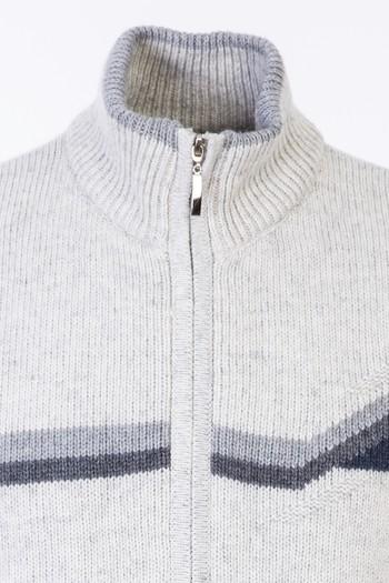 Erkek Giyim - Fermuarlı Desenli Yünlü Triko Hırka