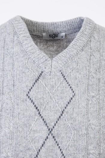 Erkek Giyim - V Yaka Yünlü Desenli Regular Fit Triko Kazak