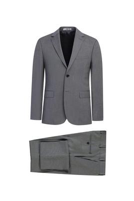 Erkek Giyim - ORTA GRİ MELANJ 48 Beden Klasik Desenli Takım Elbise