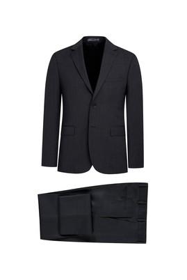 Erkek Giyim - KOYU FÜME 48 Beden Klasik Desenli Takım Elbise