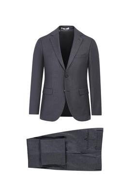 Erkek Giyim - ORTA FÜME 50 Beden Slim Fit Desenli Takım Elbise