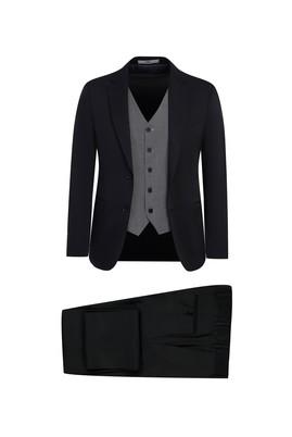 Erkek Giyim - SİYAH LACİVERT 52 Beden Slim Fit Yelekli Takım Elbise