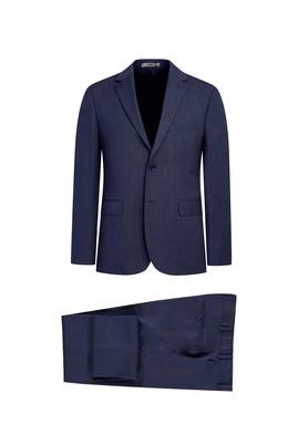Erkek Giyim - ORTA LACİVERT 52 Beden Klasik Desenli Takım Elbise