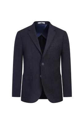 Erkek Giyim - ORTA LACİVERT 50 Beden Slim Fit Kuşgözü Ceket