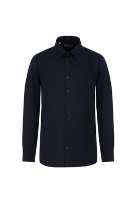 Erkek Giyim - KOYU LACİVERT M Beden Uzun Kol Desenli Klasik Gömlek