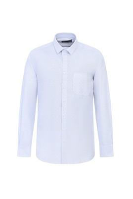 Erkek Giyim - BEYAZ XL Beden Uzun Kol Regular Fit Desenli Gömlek