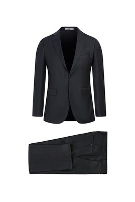 Erkek Giyim - KOYU FÜME 52 Beden Slim Fit Yünlü Takım Elbise
