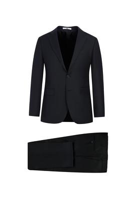 Erkek Giyim - SİYAH 50 Beden Slim Fit Yünlü Takım Elbise