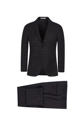 Erkek Giyim - SİYAH 50 Beden Slim Fit Ekose Takım Elbise