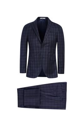 Erkek Giyim - KOYU LACİVERT 46 Beden Slim Fit Ekose Takım Elbise