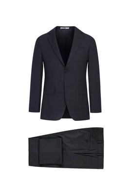 Erkek Giyim - KOYU FÜME 52 Beden Slim Fit Ekose Takım Elbise