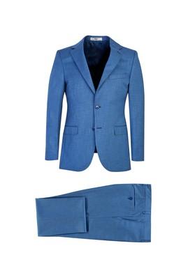 Erkek Giyim - AÇIK MAVİ 40 Beden Slim Fit Desenli Takım Elbise
