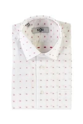 Erkek Giyim - BEYAZ XL Beden Kısa Kol Regular Fit Desenli Gömlek