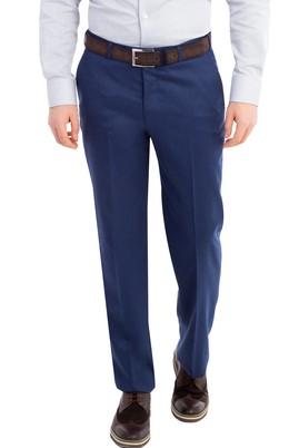 Erkek Giyim - KOYU MAVİ 48 Beden Yünlü Flanel Pantolon