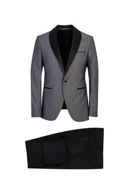 Erkek Giyim - ORTA GRİ 52 Beden Slim Fit Şal Yaka Smokin / Damatlık