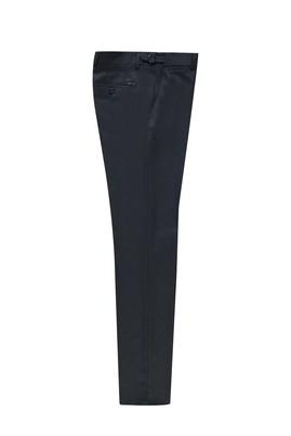 Erkek Giyim - KOYU LACİVERT 48 Beden Slim Fit Klasik Tokalı Pileli Yünlü Pantolon