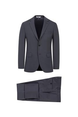 Erkek Giyim - ORTA FÜME 54 Beden Slim Fit Kuşgözü Takım Elbise