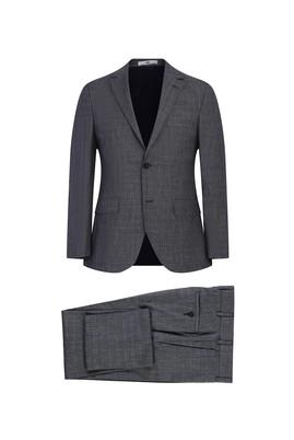 Erkek Giyim - ORTA GRİ 56 Beden Slim Fit Ekose Takım Elbise