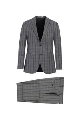 Erkek Giyim - ORTA GRİ 52 Beden Slim Fit Ekose Takım Elbise