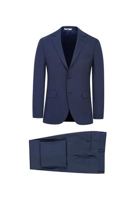 Erkek Giyim - ORTA LACİVERT 52 Beden Slim Fit Kuşgözü Takım Elbise