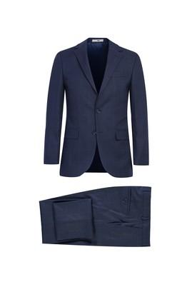 Erkek Giyim - AÇIK LACİVERT 56 Beden Regular Fit Kareli Takım Elbise