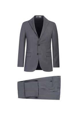 Erkek Giyim - ORTA GRİ 48 Beden Slim Fit Çizgili Takım Elbise