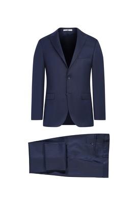Erkek Giyim - KOYU LACİVERT 56 Beden Slim Fit Çizgili Takım Elbise
